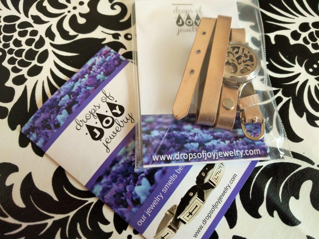 Drops of Joy rose gold leather diffuser bracelet