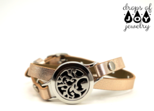Rose gold leather wrap diffuser bracelet