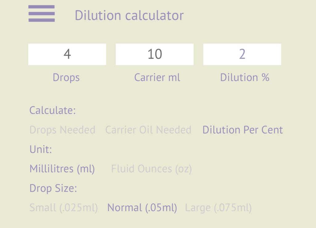 Dilution Calculator - The English Aromatherapist Essential Oil Blending App